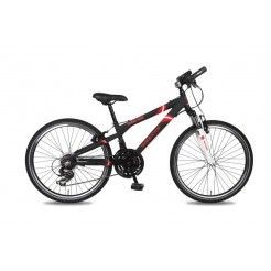 Bike Fun Crash Bike 24 inch jongensfiets 21V Matzwart/Rood