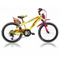 Lombardo Brera 20 inch jongensfiets Yellow/Red 6 Speed 2 handrem