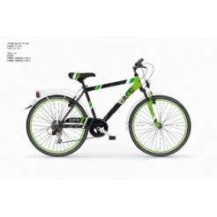 MBM District 24 inch jongensfiets Groen Zwart (Shimano 6 Speed)