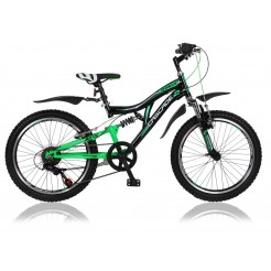 Marlin Cascade 20 inch mountainbike Black Green Shimano 6SP met 2 handremmen