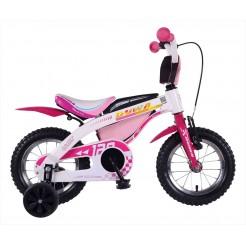 Duwa 16 inch meisjesfiets Pink     V brake voor en achter
