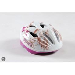 Volare 468 Fiets-Skatehelm Deluxe Wit Roze Blaadjes